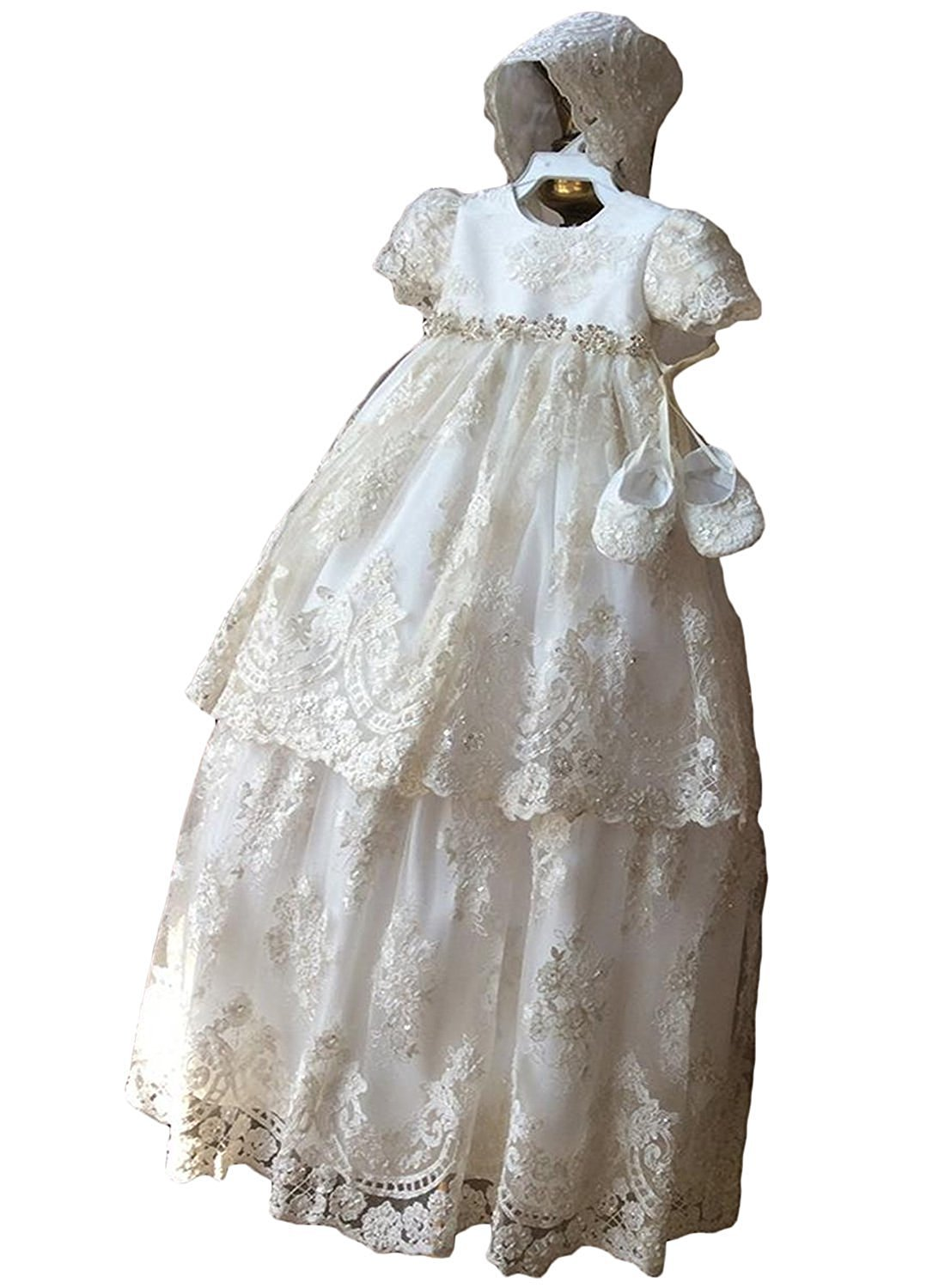 Banfvting Baby Girls Long Baptism Dress Lace Christening Gown With Bonnet
