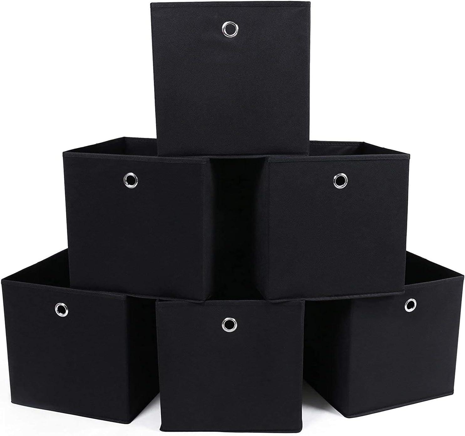 SONGMICS RFB02H-3 - Organizadores Plegables, 6 Piezas, con Agujeros para Dedos, 30 x 30 x 30 cm. Negro: Amazon.es: Hogar