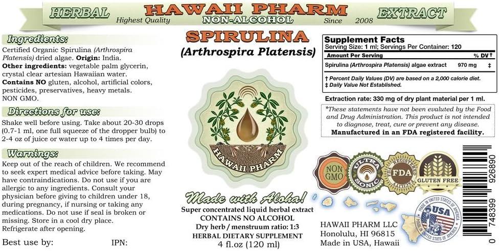 Spirulina Alcohol-FREE Liquid Extract, Organic Spirulina Arthrospira platensis Dried Algae Glycerite 2×4 oz