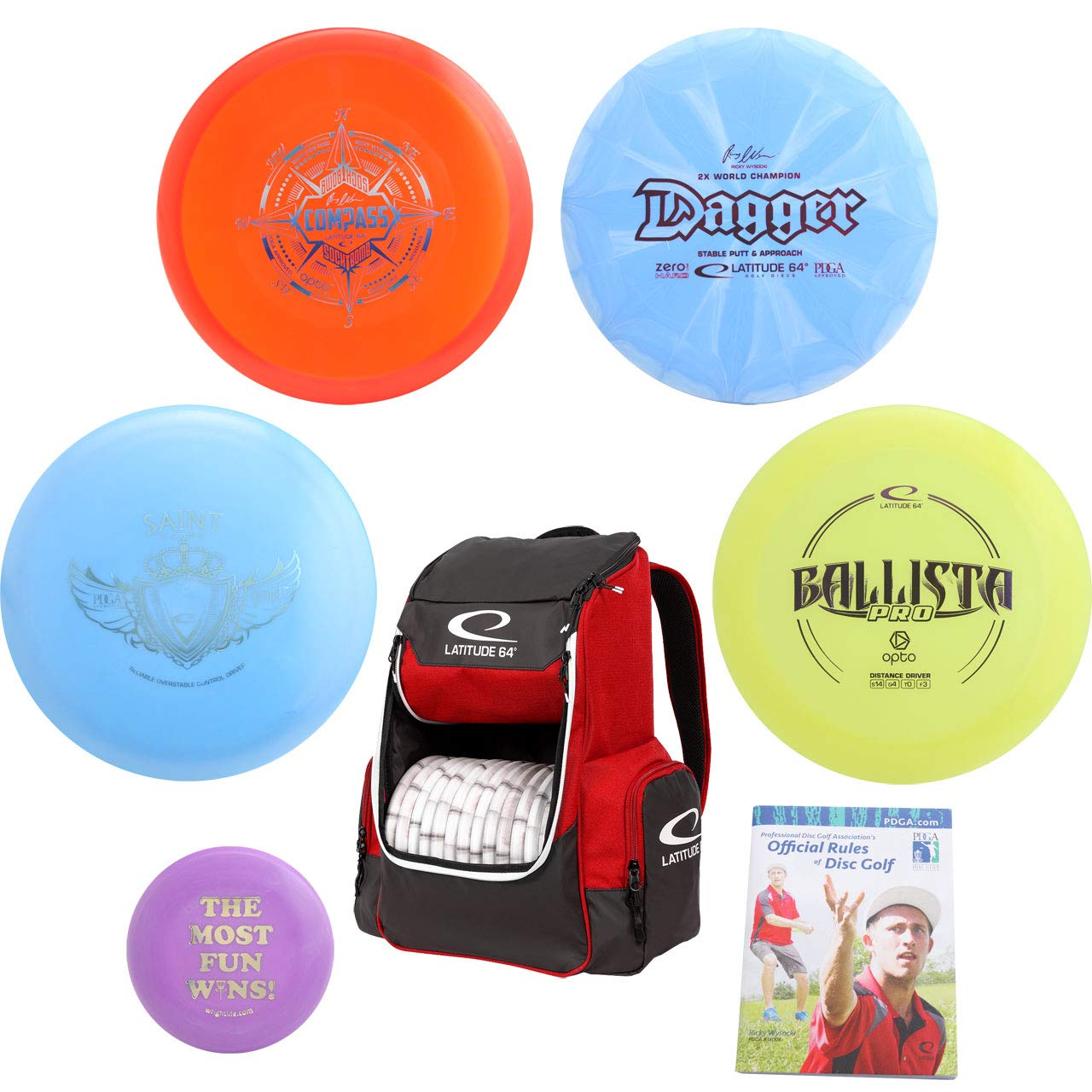 Latitude 64° Complete Disc Golf Gift Set - Core Backpack Bag + 4 Best Discs, Rules Book and Mini Marker Disc (7 Items, Colors May Vary) (Bag: Black)