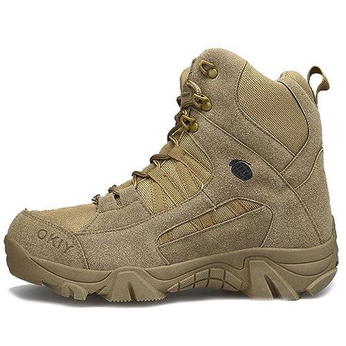 40f3e7c98f83e Scarpa Tattica Militare con Cerniera Laterale per Gli Uomini Stivali da  Combattimento in Pizzo Stivali da