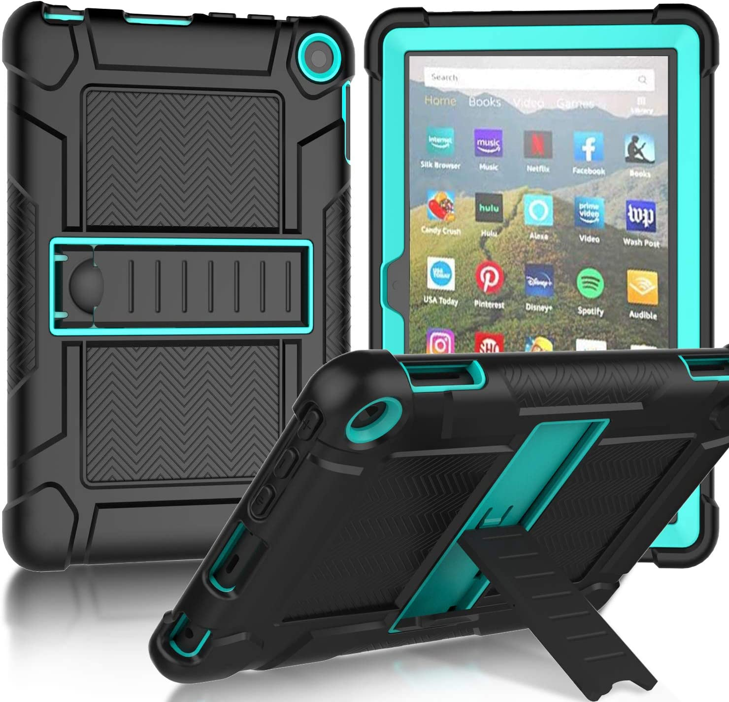 MENZO All-New Fire HD 8 2020 Case, Fire HD 8 Plus Tablet Case, Slim Shockproof Rugged High Impact Protective Case with Kickstand for Fire HD 8 Tablet (10th Generation, 2020 Release),Black & Turquoise