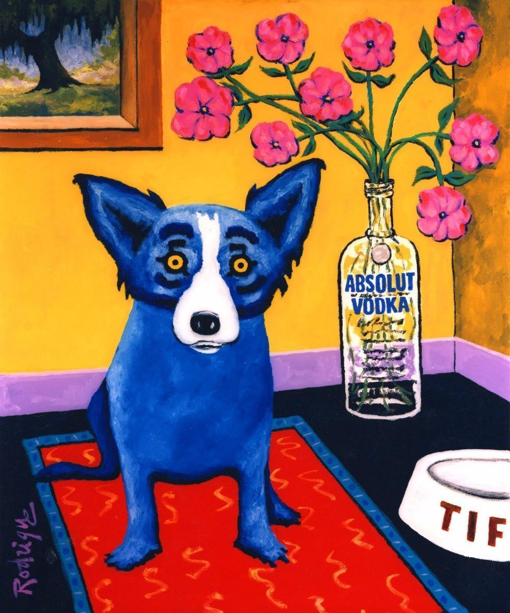 4.5 ft x 6.5 ft = 29 square ft Doormat Waterproof Plush Living Kitchen Rodrigue Blue Dog by Doormat