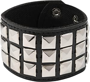 Skeleteen Punk Leather Stud Bracelet – Leather Cuff Biker…