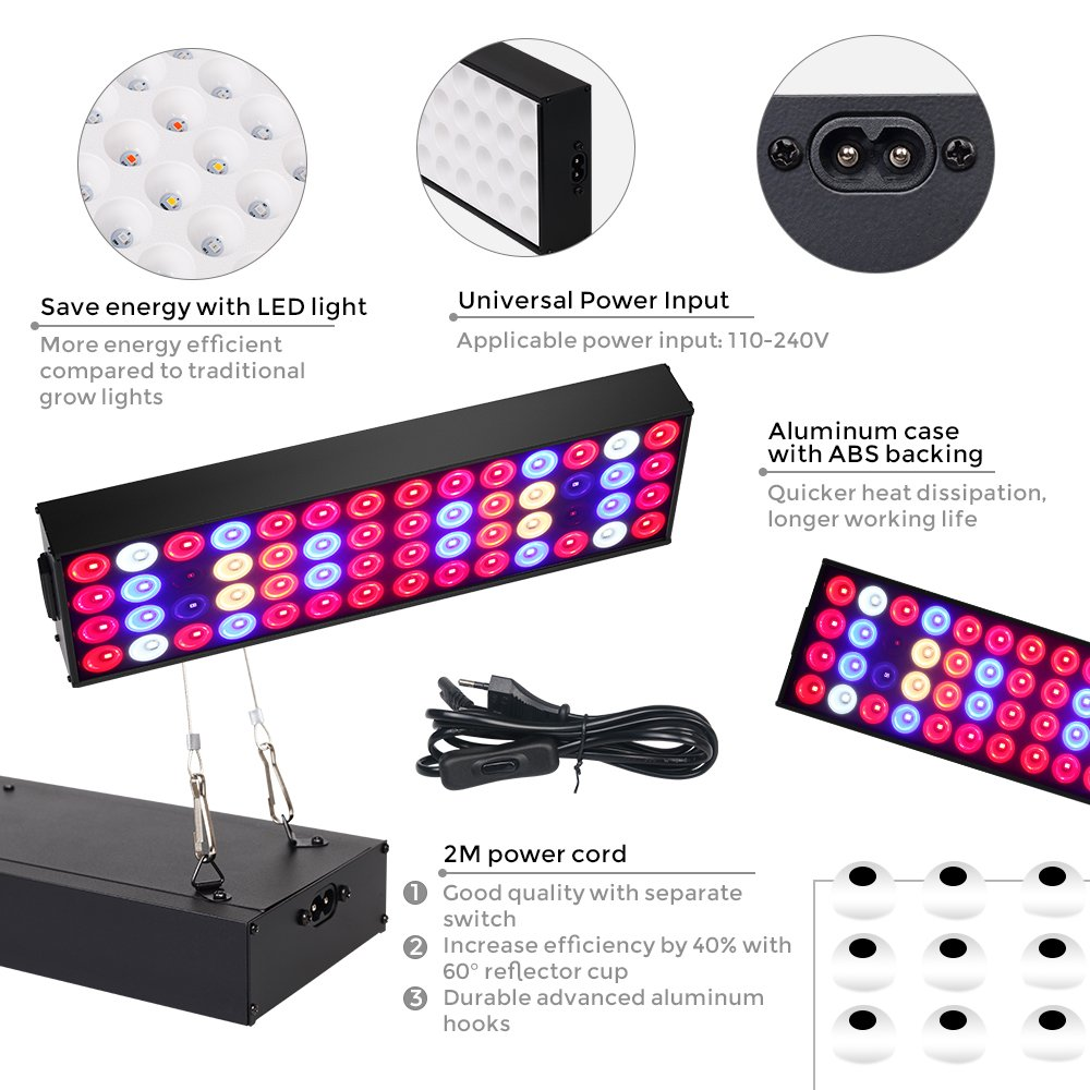 36W Full Spectrum LED Grow Light with UV & IR,No Noise Led Grow Light Bulb with Daisy Chain for Indoor Plants.Cool When Running,Energy-efficient,Works for All Stages by Antievening (Image #5)