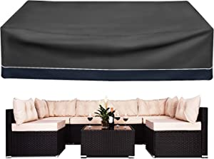 SOFW Outdoor Furniture Cover, Heavy Duty Waterproof 600D Large Furniture Set Cover for All Weather Protection Size:126