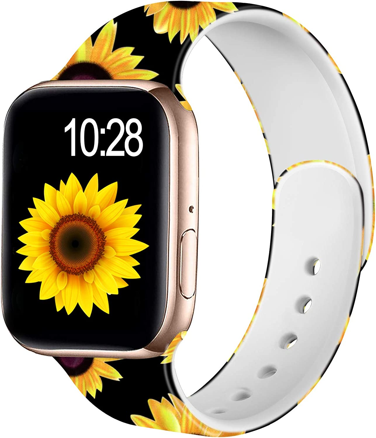 Adorve Floral Bands Compatible with Apple Watch Band 40mm 38mm iWatch SE & Series 6 & Series 5 4 3 2 1 for Women Womens, Black Sunflower S/M