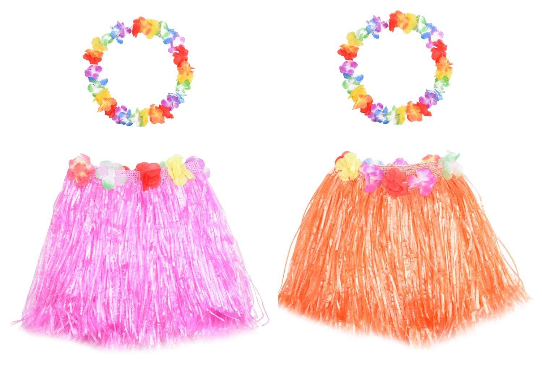 Wooly Bugged Falda de Hierba Hawaiana Niña Rosa Naranja 2Set 4Pcs ...
