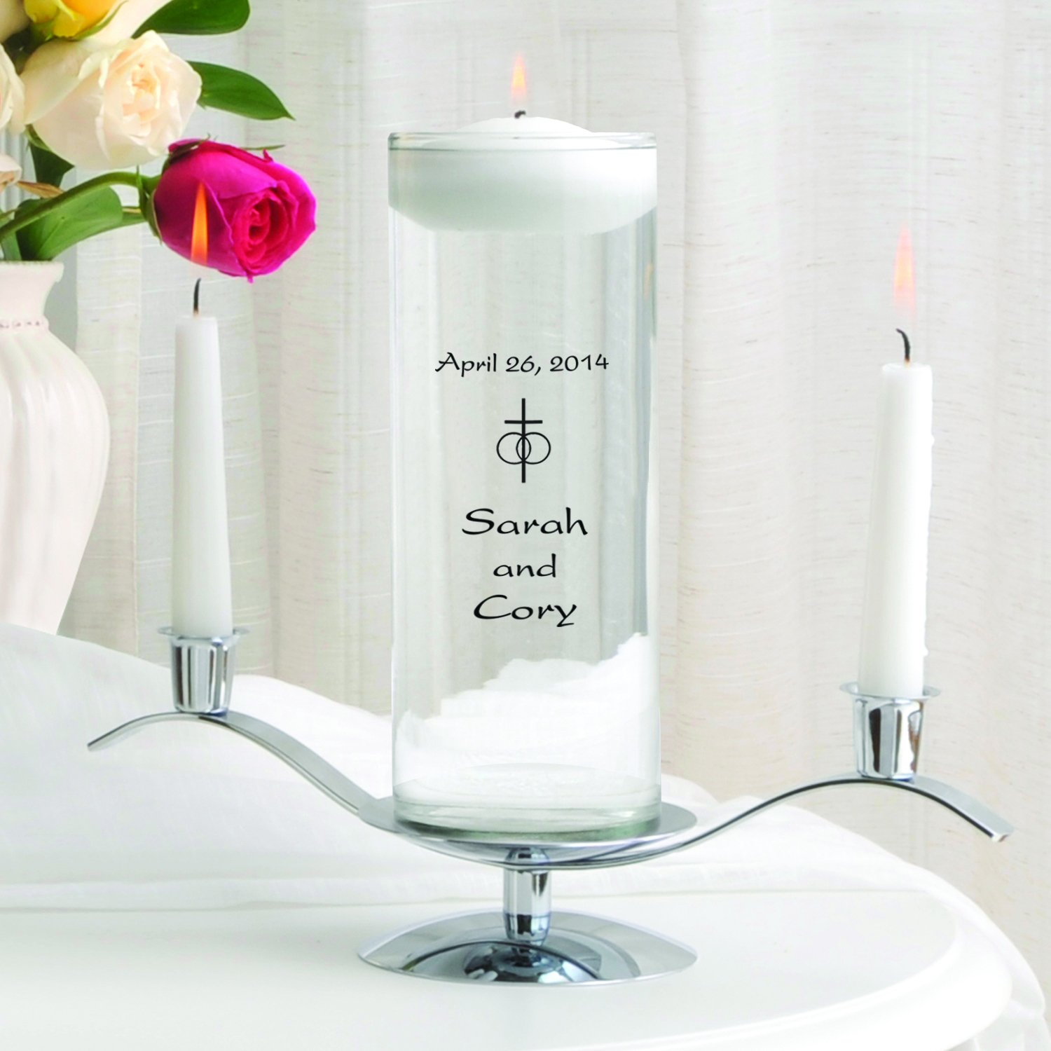 A Gift Personalized Personalized Floating Wedding Unity Candle w/Stand- Classic