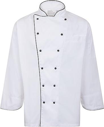 Chaqueta de cocinero con ribete blanco blanco Largo 111.76 cm -116.84 cm: Amazon.es: Ropa y accesorios