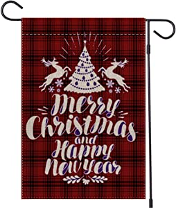 "Lapogy 12.5""x18""Christmas Garden Flag,Double-Sided Red Black Rustic Buffalo Plaid with Reindeer,Christmas Tree and Blessing Christmas Decorations Banner,Winter Outdoor Holiday House Yard Xmas Flag."