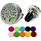Car Air Freshener Essential Oil Diffuser Clip – Horsky Tree of Life Stainless Steel Natural Air Freshener 4 Feet Clip for Air Vent Aromatherapy with 10 Felt Pads (Tree of Life)