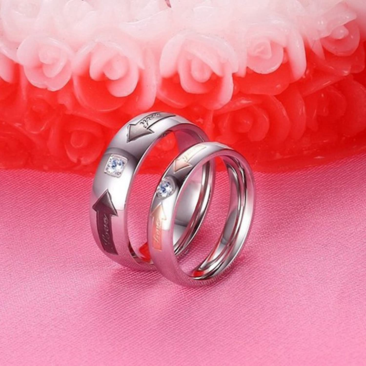 Amazon.com: GINBL 6mm Men Titanium Love You Couple Wedding Rings ...