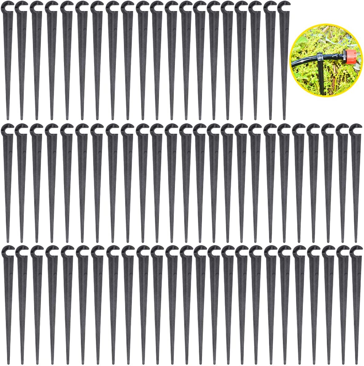 Heatoe 200 Pcs Irrigation Drip Support Stakes Tubing Support Holder Hose Support Holder for Flower beds, Gardens.