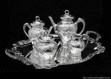 Original antiguo de estilo Art Nouveau bañado en plata Juego de té con bandeja para servir: Amazon.es: Hogar