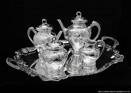 Original antiguo de estilo Art Nouveau bañado en plata Juego de té con bandeja para servir