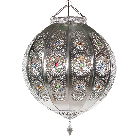 paralume stile orientale lampada rana argento 40 cm marocchina ... - Lampade Arabe Italia