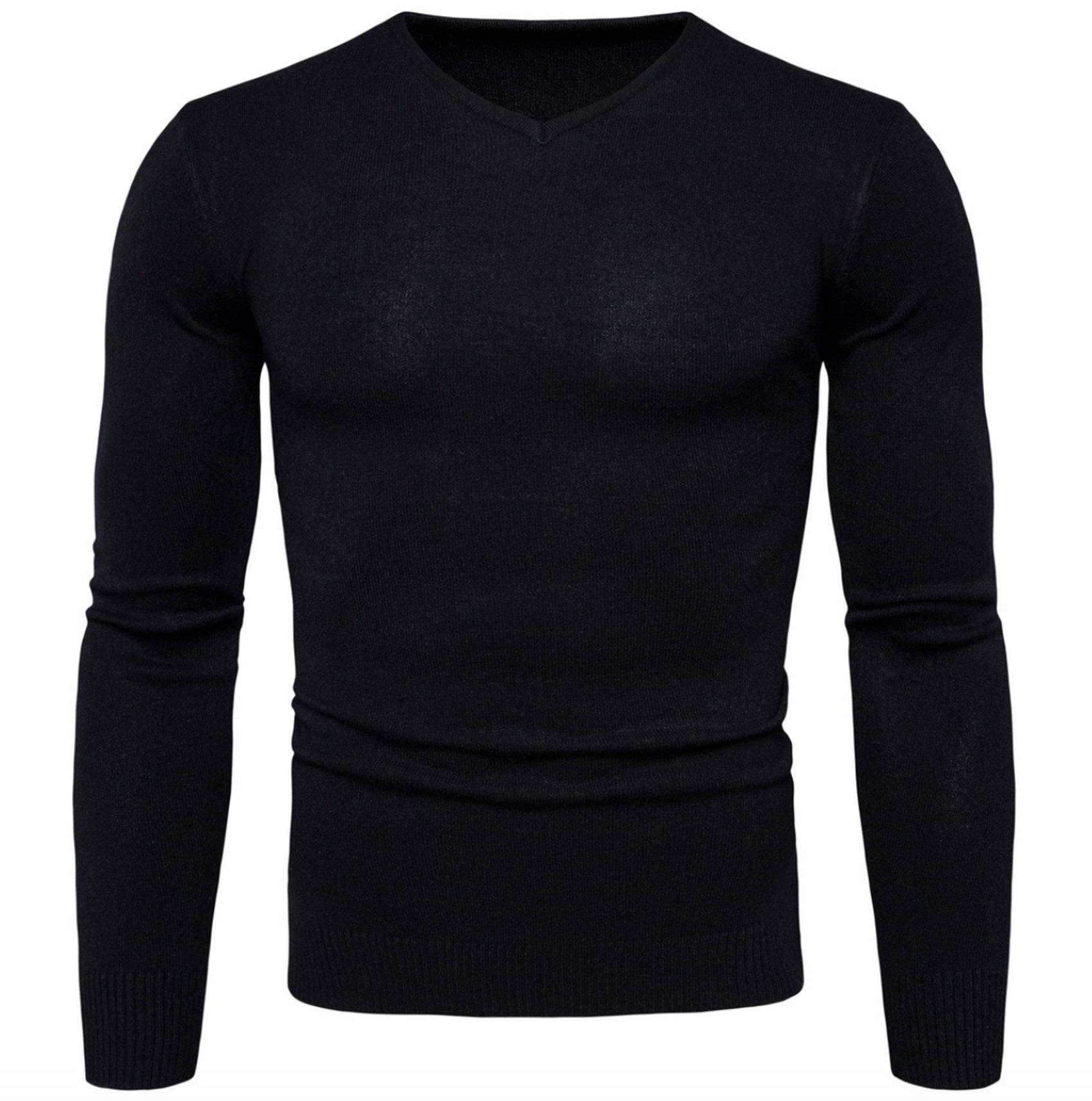 Elonglin Mens V-Neck Sweater Knit Fine Coton Classic Jumper Pullover Slim Fit Black US XS (Asian M)