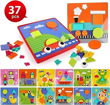 BeebeeRun 37 Pezzi Gioco Bottoni per Bambini Giocattolo a Mosaico