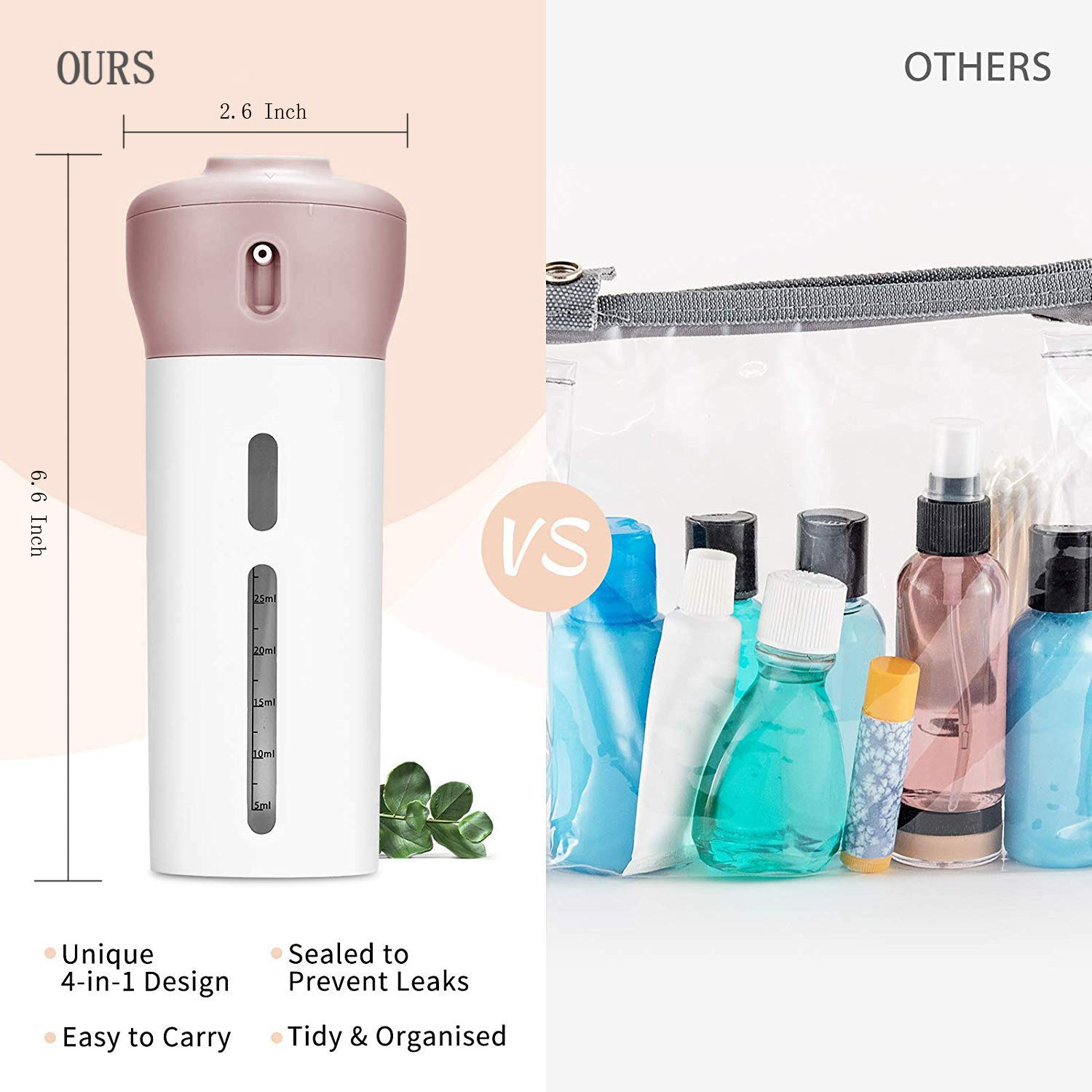 Travel Bottles Spray Bottles TSA Approved Containers Shampoo and Conditioner Bottles 4 in 1 Portable Leak Proof Refillable Travel Toiletries Accessories Kit