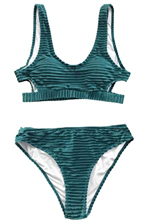 cfb4244f6c CUPSHE Women's Emerald Velvet Solid Backless Bikini with Cutout at ...