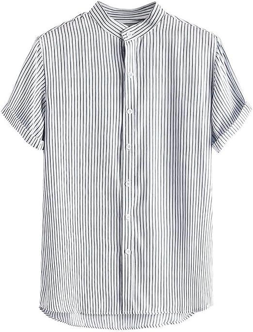Men Casual Dress Shirt Plaid Tops Slim Tee Short Sleeve Buttons Shirts Summer