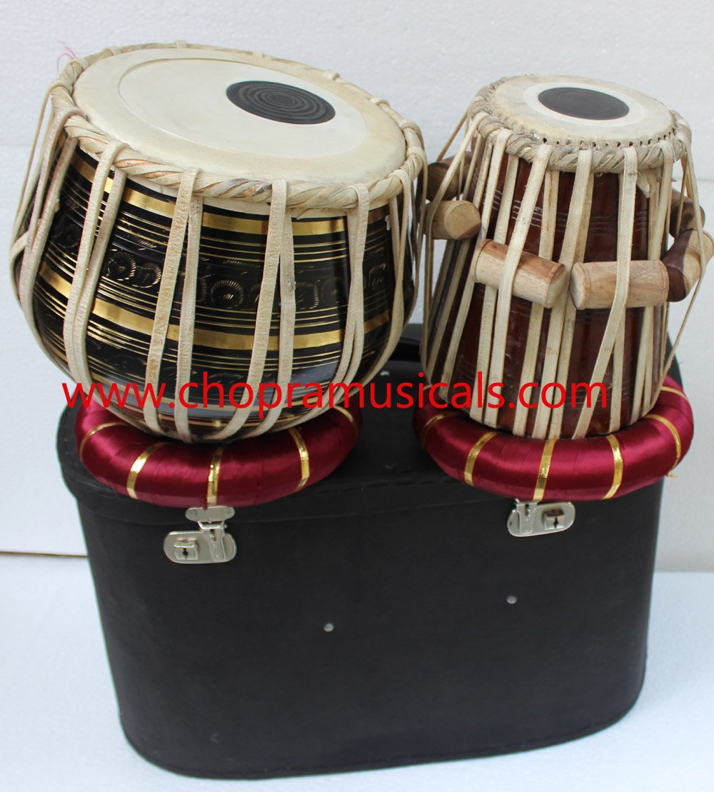 Chopra Tabla Drum Set, Pro Brass Colored Bayan, Best Dayan with, Hammer, Cushions & Box