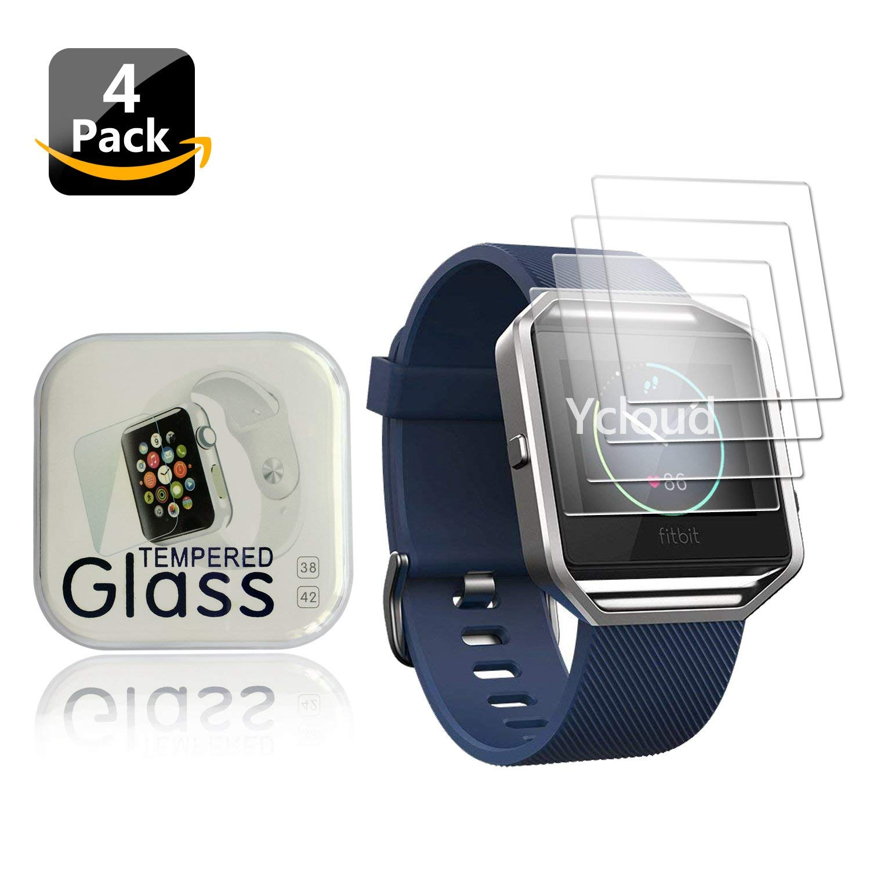 Ycloud [4-Unidades Protector de Pantalla de Vidrio Templado para Fitbit Blaze Smartwatch Alta Definicion 9H Dureza Anti-Explosion