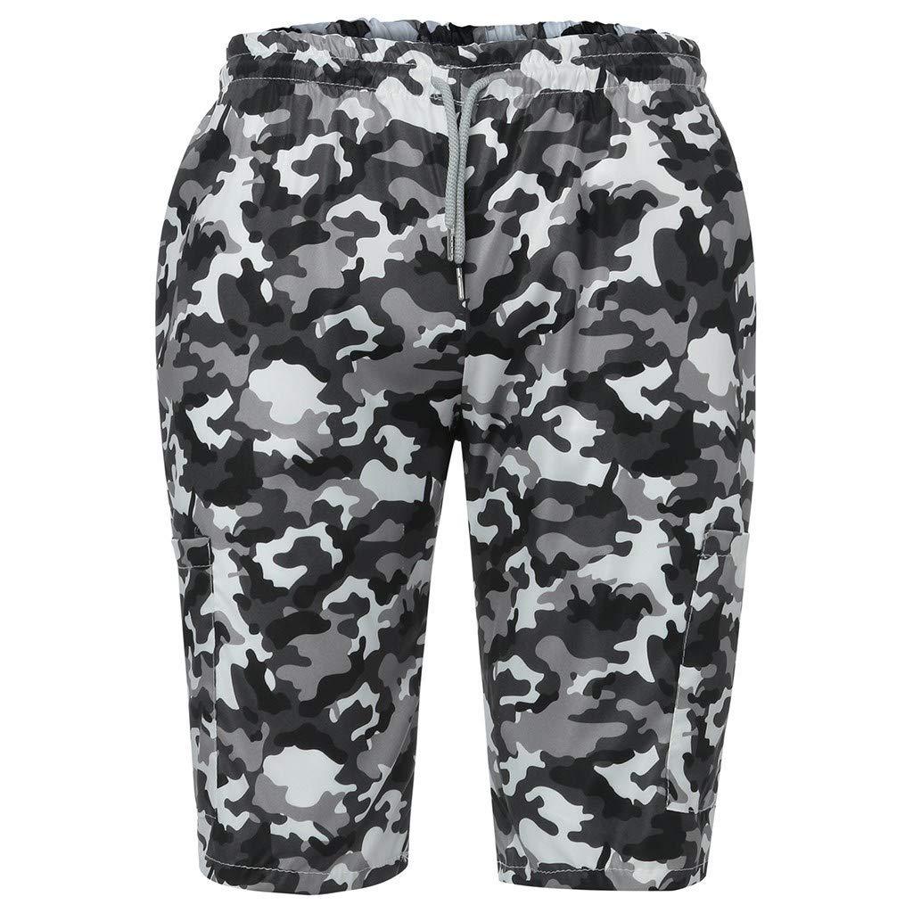 HITRAS Men Camouflage Beach Shorts Splice Stripe Quick Dry Swim Trunks Elastic Waist Swimwear with Pockets Swimsuit
