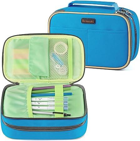 Homecube - Estuche para lápices con 3 compartimentos, gran capacidad con compartimento interior, cremallera (color azul): Amazon.es: Oficina y papelería