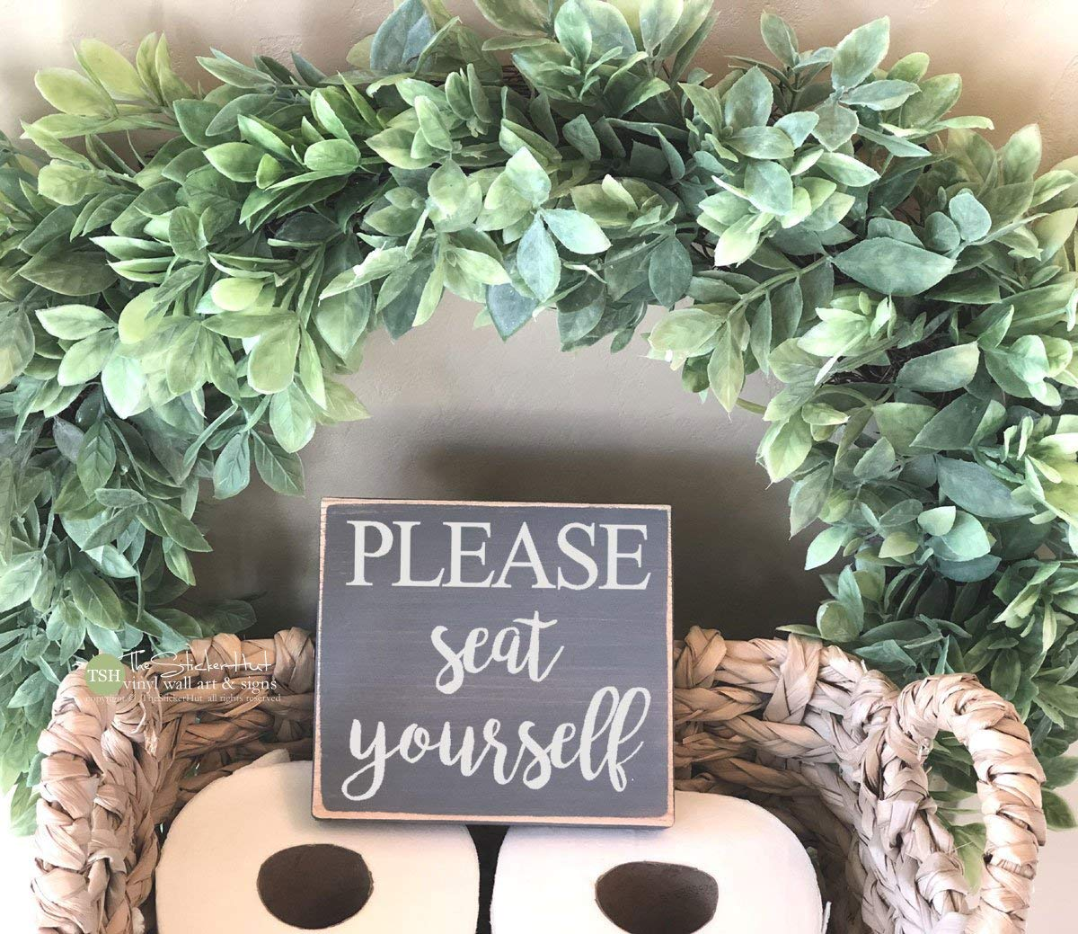 Wood Sign Please Seat Yourself Bathroom Sign Mini Block Bath Decor Funny Sayings Quote Wall Art Decorative Home Desk Sign