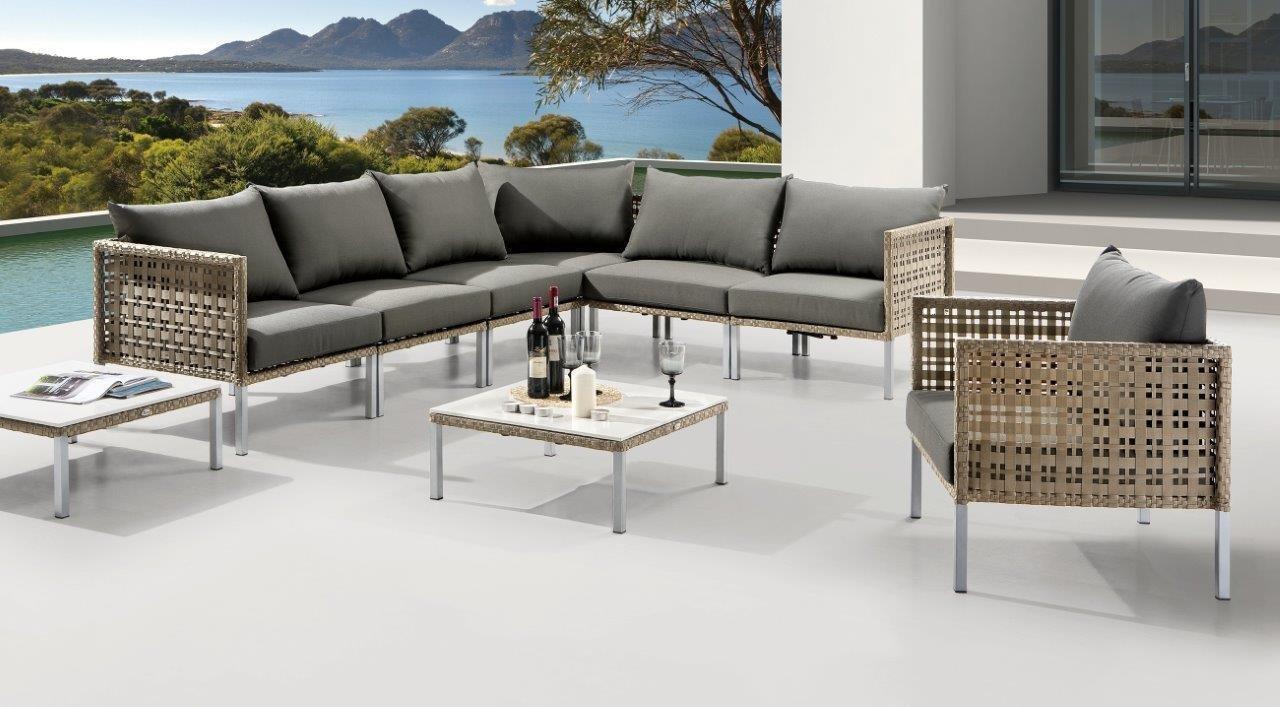 Destiny Loungegruppe Barcello Beige Gartenmöbelset Loungeset Sofaset Sitzgruppe