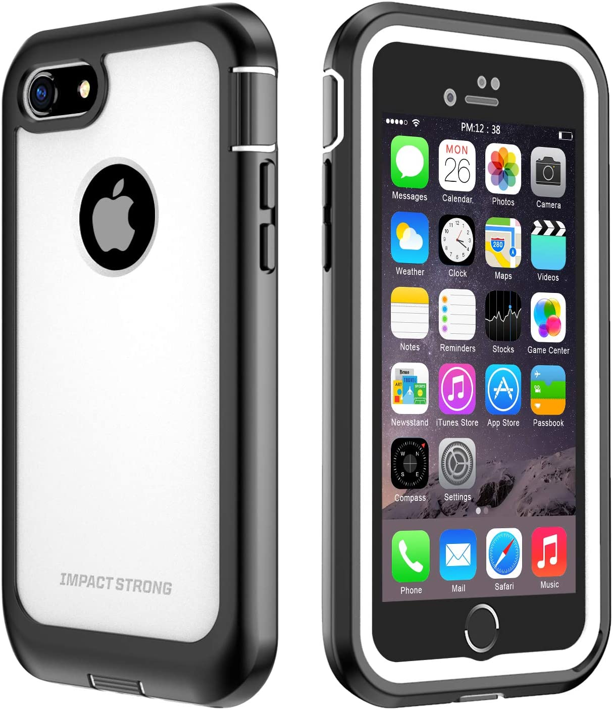 ImpactStrong iPhone 7/8 Case, Ultra Protective Case with Built-in Clear Screen Protector Full Body Cover for iPhone 7 2016 /iPhone 8 2017 (White)