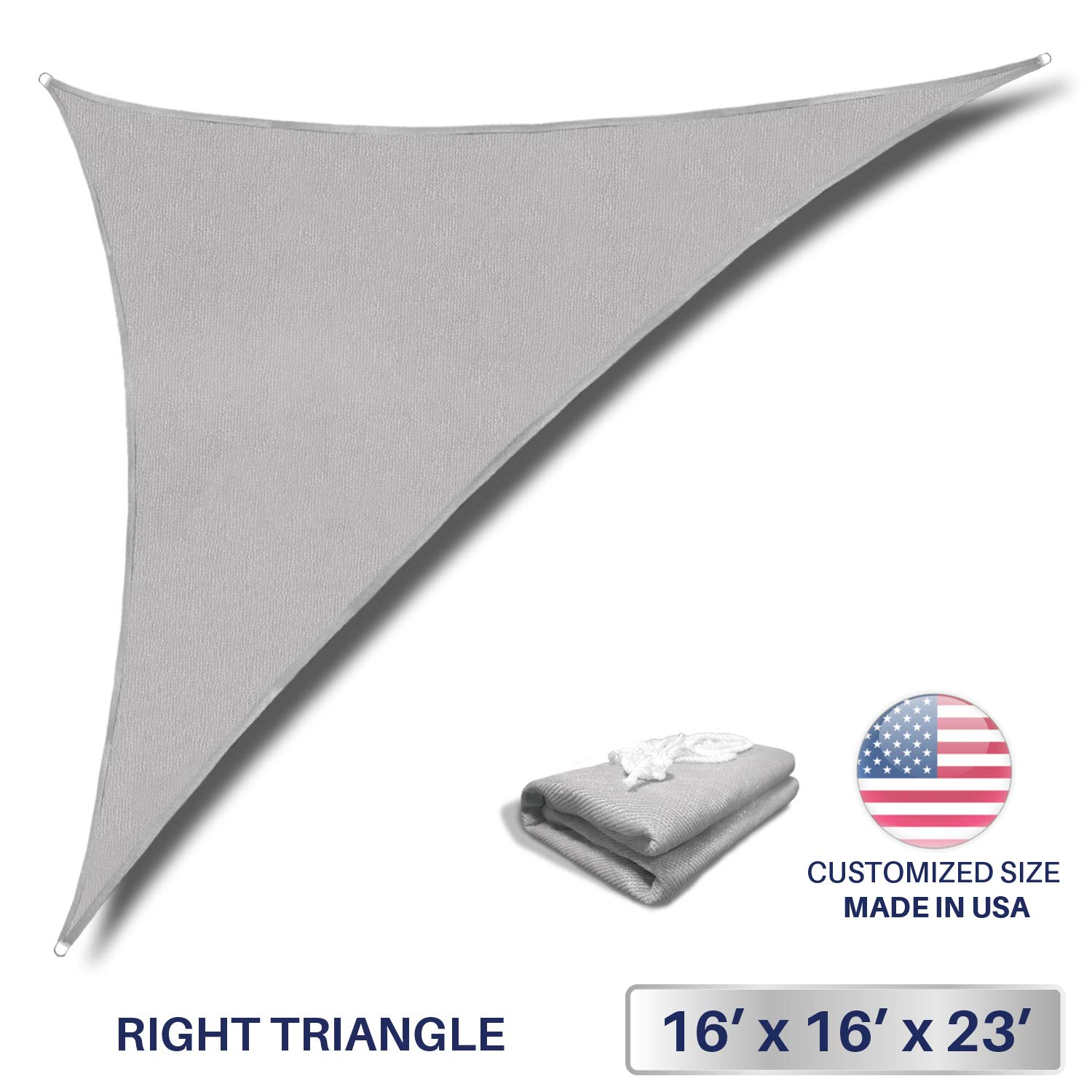 Windscreen4less 16' x 16' x 22.6' Triangle Sun Shade Sail - Solid Light Grey Durable UV Shelter Canopy for Patio Outdoor Backyard - Custom (3 Year Warranty)