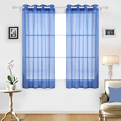 Exceptionnel Deconovo Sheer Curtains Grommet Curtains Sheer Drapes Voile Curtains For  Office 52 X 63 Inch Royal