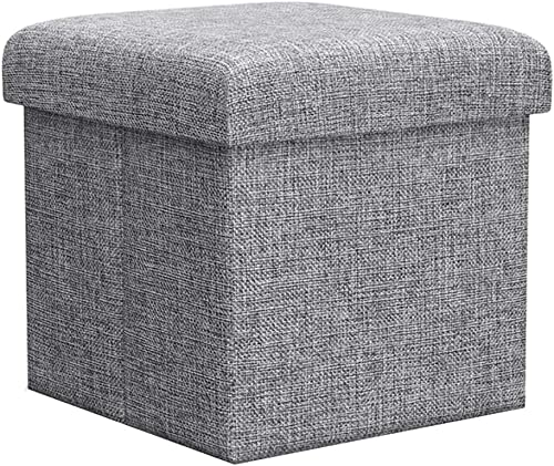 ZLY Folding Stool Storage Ottoman Polyester Fabric Linen Foot Rest Seat Kids Clutter Toys Collection 12 X 12 X 12 inch 30.5cm Cube Desk