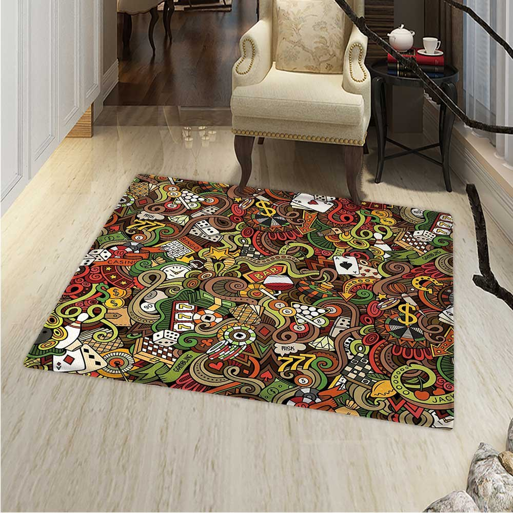 Casino Anti-Skid Area Rug Doodles Style Artwork of Bingo and Cards Excitement Checkers King Tambourine Vegas Soft Area Rugs 48''x60'' Multicolor