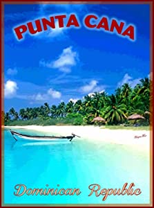 TYmall Metal Sign Wall Plaque 8X12 Inch Punta Cana Dominican Republic Caribbean Beach Travel Advertisement Art Retro Metal Poster Signs Decor House Home Tin Signs