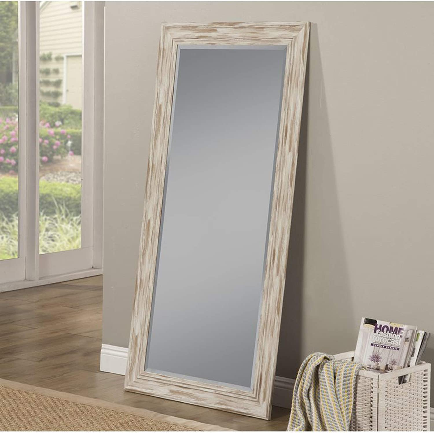 Full Length Wall Mirror Rustic Rectangular Shape Horizontal Vertical Mirror Can Be Use In Living Room Bedroom Entryway Or Bathroom Antique White Wash Amazon Co Uk Kitchen Home