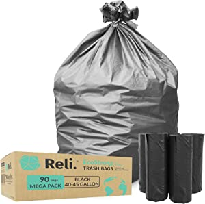 Reli. EcoStrong 40-45 Gallon Trash Bags (90 Count) Eco-Friendly Recyclable - 40 Gallon - 44 Gallon - 45 Gallon Black Garbage Bags, Made of Recycled Material, Black Garbage Bags 40-45 Gal Capacity