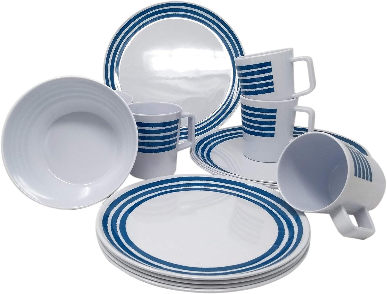 Juego de vajilla de melamina para 4 personas, 16 piezas, diseño moderno, color azul a rayas