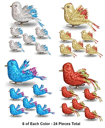 banberry designs christmas bird ornaments decorations set of 24 clip on birds package - Bird Christmas Decorations