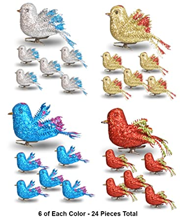 banberry designs christmas bird ornaments decorations set of 24 clip on birds package