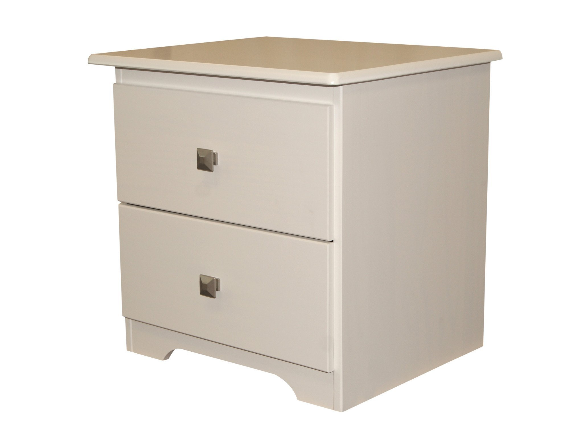 Bedz King 2 Drawer Nightstand, White - 2 Drawer Nightstand Easy glide drawers - 2 pewter color metal pulls Assembly required with included tools - nightstands, bedroom-furniture, bedroom - 71FnT6zfKyL -