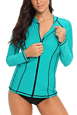 f794d34d25d belamo Womens Rashguard Long Sleeve Sun Protection Clothing Zip Rash Guard  Medium Aqua