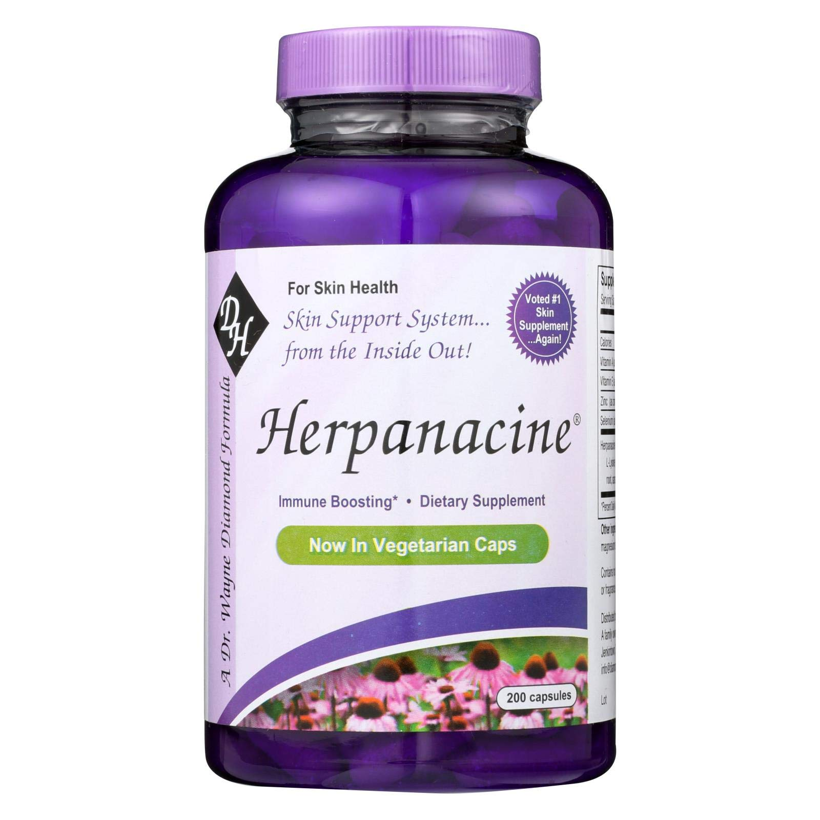 Diamond Herpanacine Natural Skin Support Supplement 200 capsules | for Complete Skin Health by Herpanacine