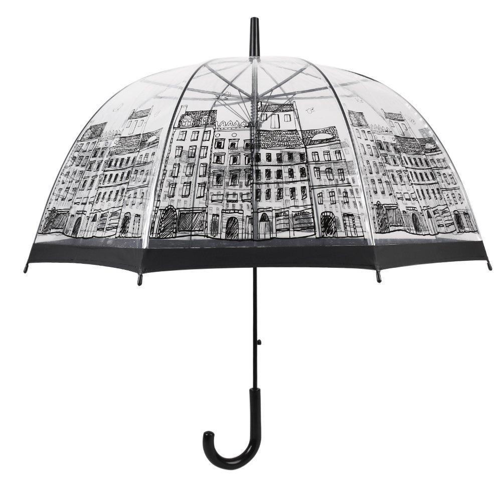 Bonito paraguas con dibujo de una ciudad.