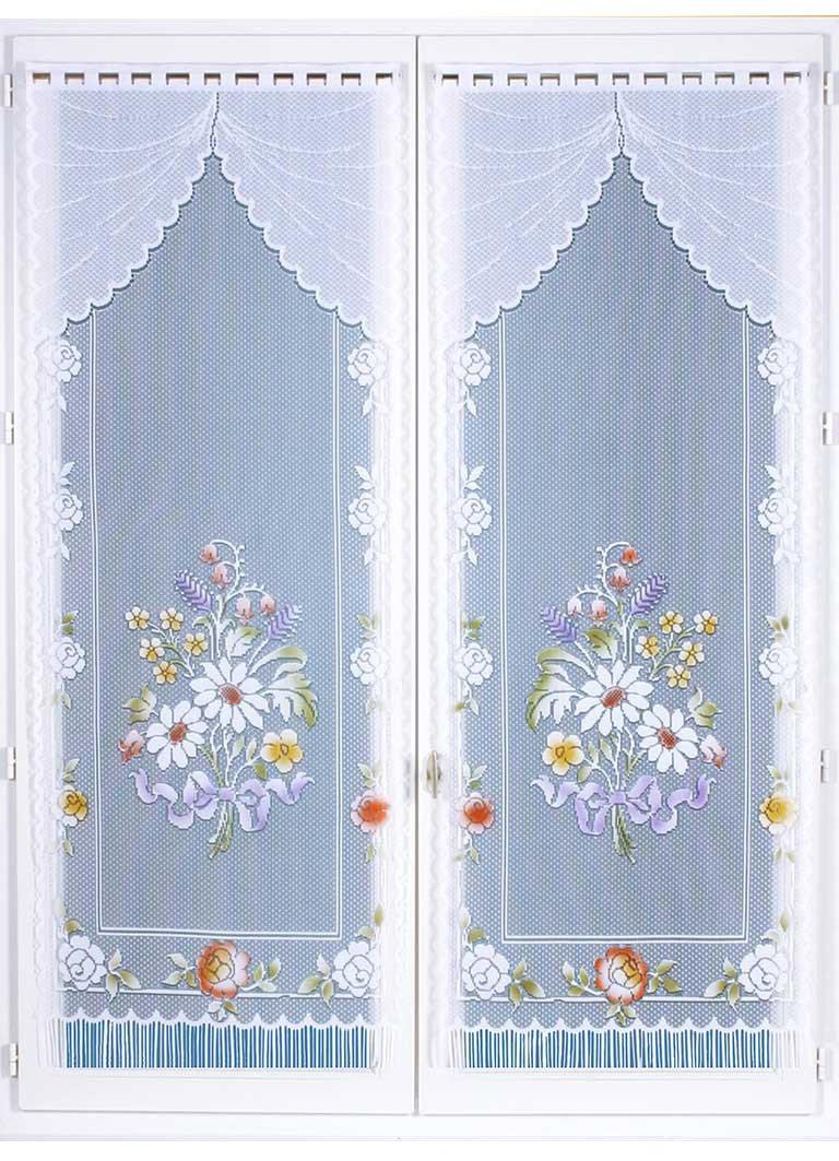 HomeMaison Paire de Vitrages Frangés et Dentelés, Polyester, Peint, 220x60 cm HM6930906A