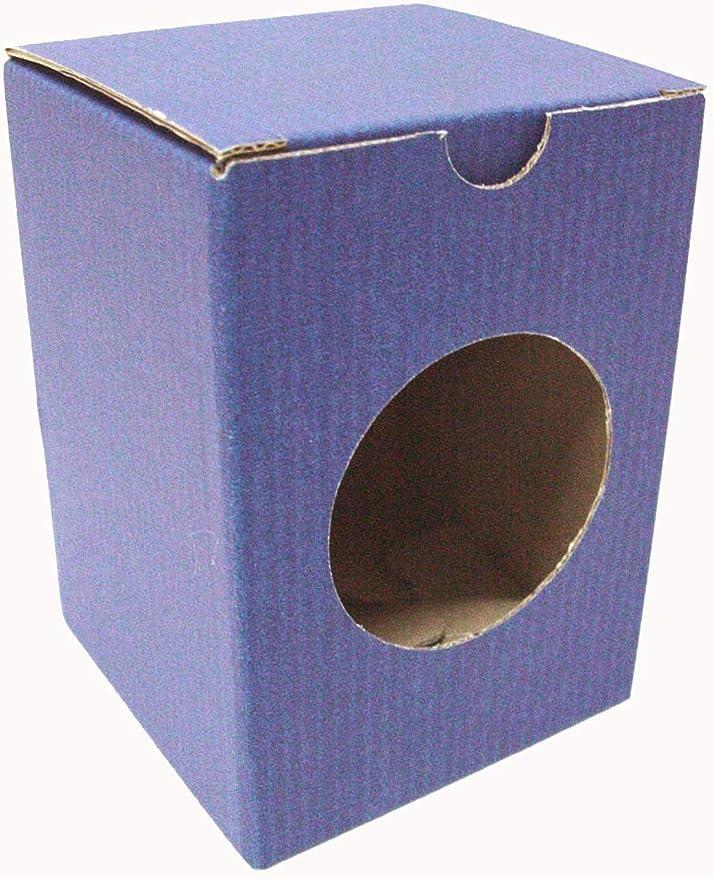 WORKING HOUSE (Regalo / Cajas Cartón) Caja Carton Azul para Vaso DE Sidra Individual con Ventana Redonda: Amazon.es: Hogar