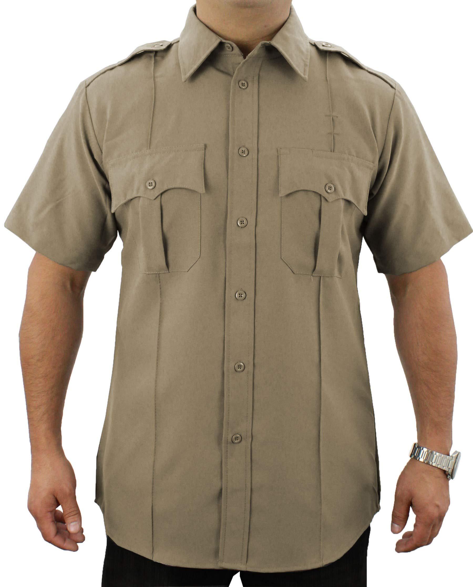 First Class 100% Polyester Short Sleeve Zippered Uniform Shirt 2XL Tan by First Class